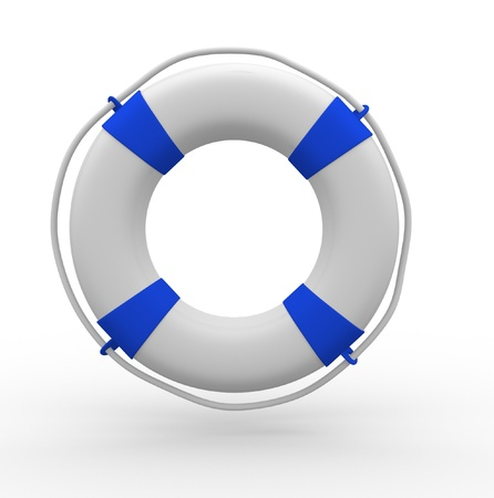 Life buoy blue on white background - This is a 3d render illustration illustration
