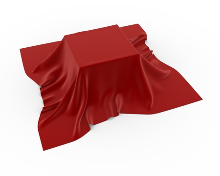 hidden: A box covered with a table cloth - 3d render  Stock Photo
