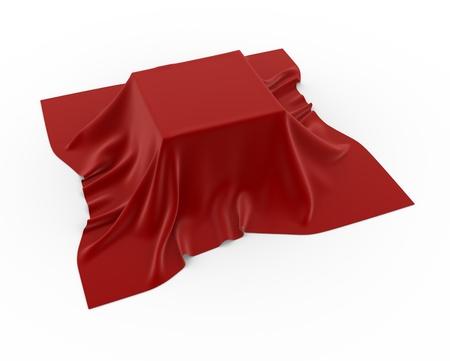 coberto: Uma caixa coberta com uma toalha de mesa - 3d rendem Imagens