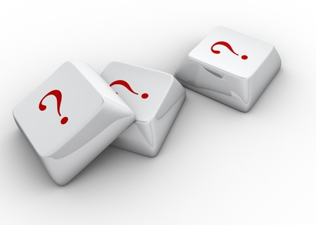 muddle:  White computer keyboards with question mark - 3d render  Stock Photo