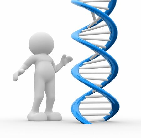 icon idea idiom illustration: 3d  people icon with DNA- This is a 3d render illustration Stock Photo