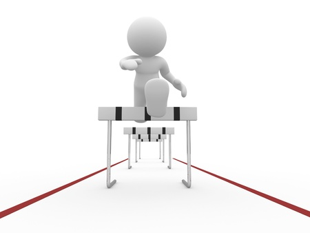 3d people icon jumping over a hurdle obstacle  - This is a 3d render photo