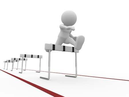 obstacle: 3d people icon jumping over a hurdle obstacle   This is a 3d render illustartion Stock Photo