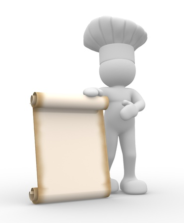 chef 3d: The chef and a blank menu board - 3d render illustration Stock Photo
