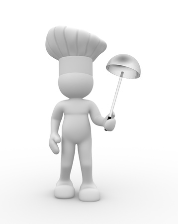 Cook with a ladle in hand - This is a 3d render illustration illustration