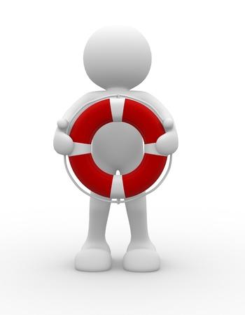 katastrophe: Leute mit Charakter Rettungsring - 3d render Lizenzfreie Bilder