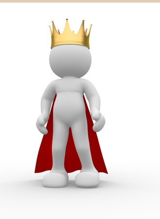 3d people icon with royal crown - This is a 3d render illustration Stock Photo