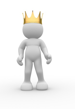 3d people icon with royal crown - This is a 3d render illustration illustration
