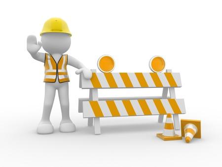 veiligheid bouw: 3d mensen pictogram en in aanbouw - Dit is een 3d render illustratie