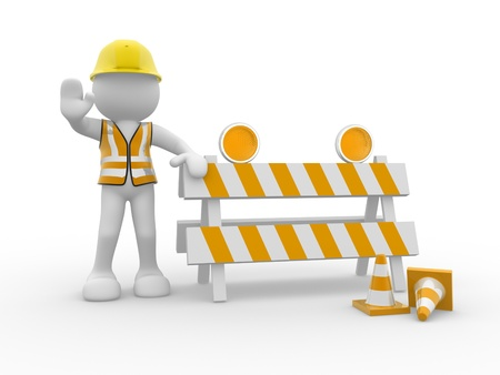 under construction sign with man: 3d people icon and under construction - This is a 3d render illustration