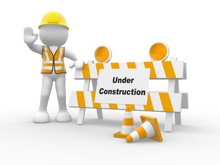 veiligheid bouw: 3d mensen pictogram en in aanbouw Dit is een 3d render illustratie Stockfoto