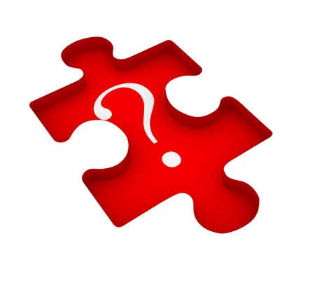 Puzzle with question mark - This is a 3d render illustration