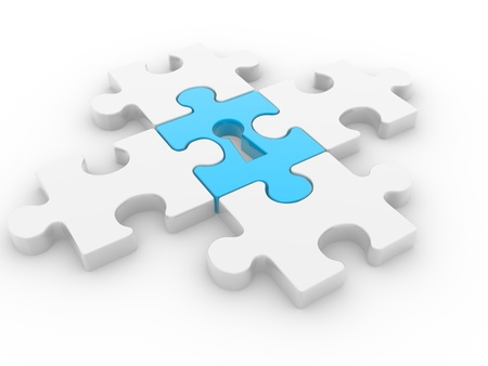 Puzzle with keyhole - This is a 3d render illustration Stock Illustration - 14767084