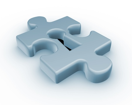 credence: Jjigsaw puzzle piece keyhole - This is a 3d render illustration