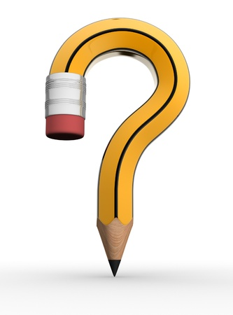 to mark: Pencil question mark on white background- This is a 3d render illustration