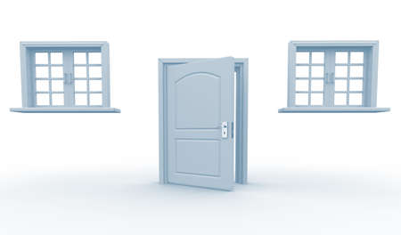 glass doors: Door and windows on a white background - This is a 3d render illustration