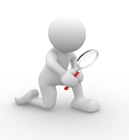 magnify: 3d perople-human character with a magnifying glass - This is a 3d render illustration Stock Photo