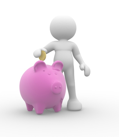 bank accounts: 3d people-human character with piggy bank and golden coin - 3d render illustration Stock Photo
