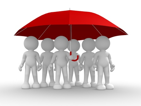 group objects: Group of people under the umbrella -  This is a 3d render illustration