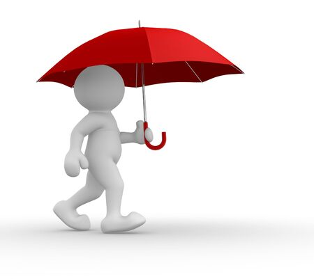 red umbrella: 3d people-human character under red umbrella- This is a 3d render illustration