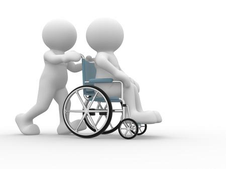 cadeira de rodas: Povos 3d car�ter humano em uma cadeira de rodas Esta � uma ilustra��o 3d rende