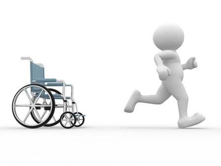 3d people- human character running from wheelchair  3d render illustration illustration