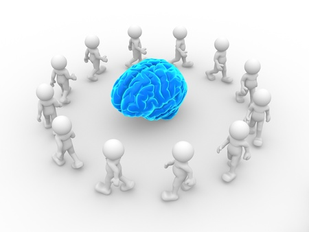 brainy: 3d people- human character end blue brain  This is a 3d render illustration