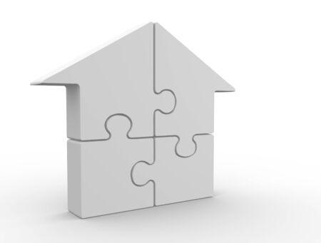 Puzzle pieces arranged in a house shape - 3d render  photo