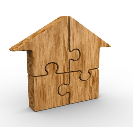 wood house: Puzzle pieces arranged in a house shape - 3d render illustration Stock Photo