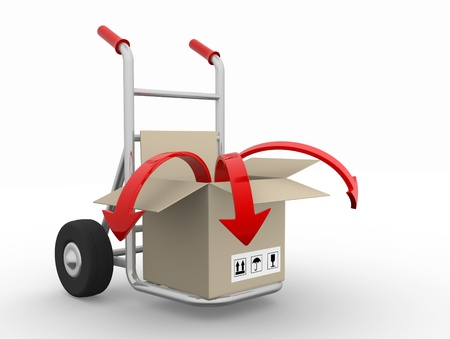 hand truck: Open box with arrow on hand truck - 3d render illustration Stock Photo