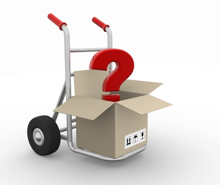 Open box with question mark on hand truck - 3d render illustration illustration