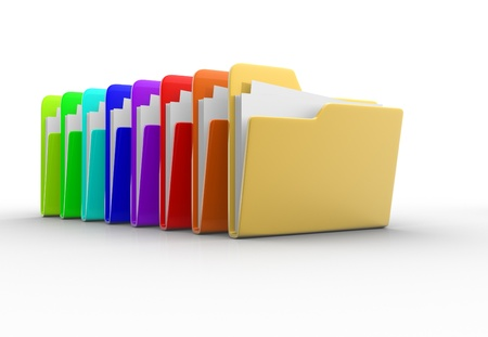 Colorful folders with paper  3d render illustration  illustration