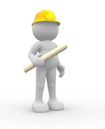 developer: 3d people- human character - suggesting an engineer  3d render illustration  Stock Photo