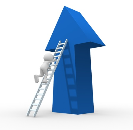ladders: 3d people - human character climbing ladder  - This is a 3d render illustration  Stock Photo