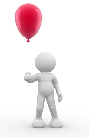 ed: 3d people - human character with balloons  ed render illustartion