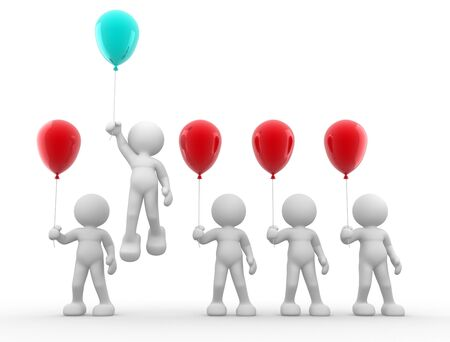 3d people - human character with balloons  3d render illustartion Stock Photo - 14767250