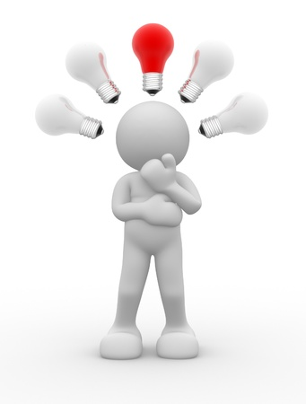 bright ideas: 3d people - human charcacter with a light bulb - 3d render illustration Stock Photo