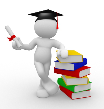 academic achievement: 3d people - human character with graduation and books  3d render illustration