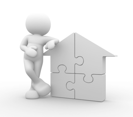 puzzelen: 3d mensen - menselijk karakter wordt ondersteund door een huis puzzelstukjes - 3d render Stockfoto