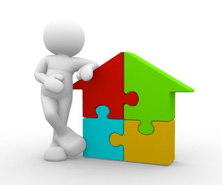 puzzelen: 3d mensen - menselijk karakter wordt ondersteund door een huis puzzelstukjes - 3d render illustratie