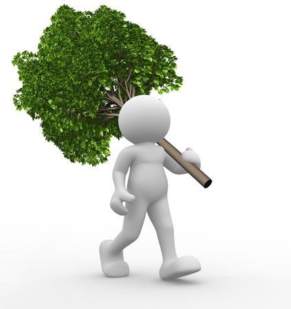 3d character: 3d people - human character  a green tree  3d render illustration