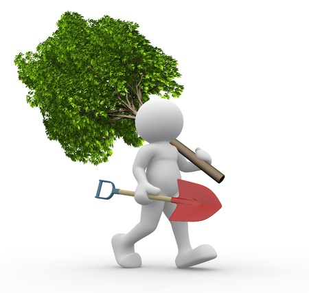 save tree: 3d people - human character with a green tree and shovel  3d render illustration