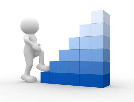 3d people - human character climb cubes  3d render illustration Stock Illustration - 14767197