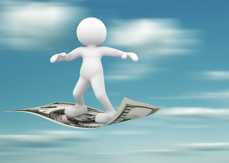 cash flows: 3d people - human character flying on U S  dollars  3d render illustration Stock Photo