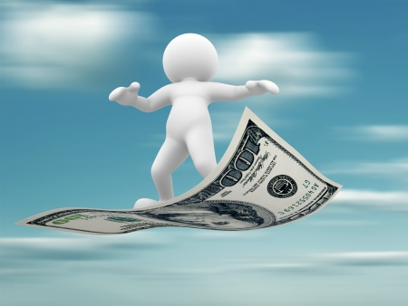 3d people - human character flying on U S  dollars  3d render illustration Stock Illustration - 14767877