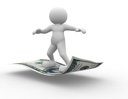 3d people - human character flying on U S  dollars  3d render illustration Stock Illustration - 14767346