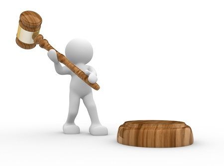 conflictos sociales: Personas-humana de personajes en 3D con un martillo de la justicia - martillo de sonido 3d, ilustración, render Foto de archivo