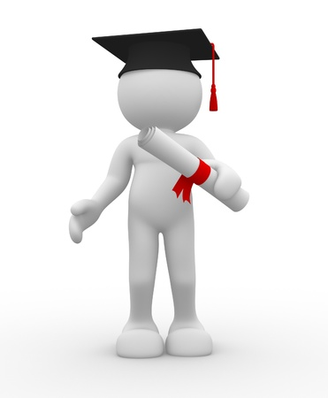 degrees: 3d people - human character with graduation and diplama  3d render illustration
