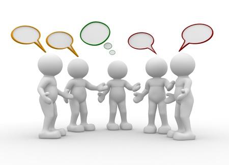 dialogo: Cinco personas hablando - Esta es una ilustración 3d