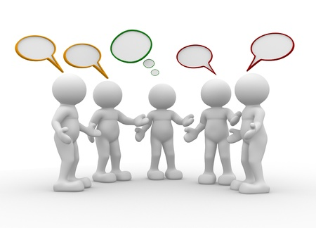 Five people talking - This is a 3d render illustration Stock Illustration - 14767473